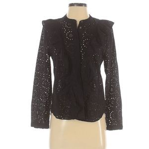 Madewell Black Eyelet Ruffle-Front Blouse Cotton S